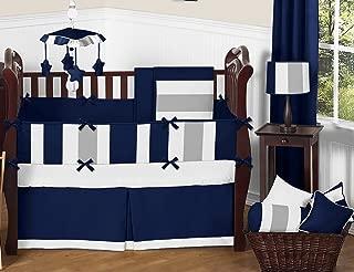 Sweet Jojo Designs 9-Piece Modern Navy Blue and Gray Stripe Print Boys Baby Bedding Crib Set with Bumper