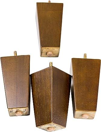 MJL Furniture Designs Medium Wooden Square/Block Shaped Replacement Sofa or Ottoman Threaded Leg (Set of 4),  Walnut,  5 x 2-3/4 x 1-3/4