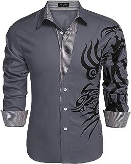 قميص رجالي من COOFANDY مطبوع بأزرار سفلية قمصان عصرية طويلة الأكمام كاجوال