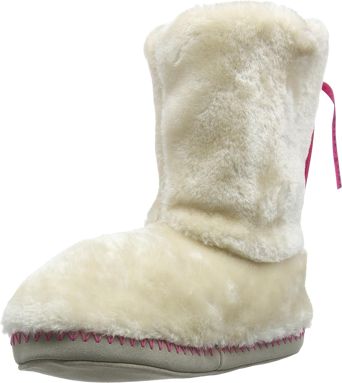 Animal Womens Bollo Warm Fleece Lined Fur Hi-Top Slippers Boots - Taupe Cream