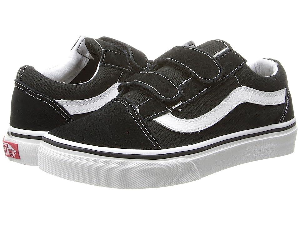 Vans Kids Old Skool V (Little Kid/Big Kid) (Black/True White) Boys Shoes