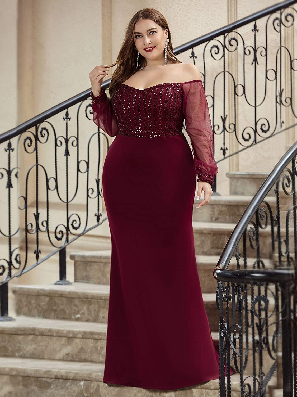 Ever-Pretty Women's Cold Shoulder Sequin Dress Mermaid Plus Size Evening Dress 0711