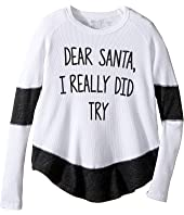 The Original Retro Brand Kids Dear Santa I Really Did Try Contrast Thermal (Big Kids)