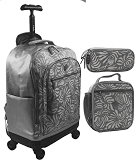School Trolley Bag For Kids And Unisex 20 Inch Grey Include Lunch Bag And Pencil Pouch with ABS Bottom