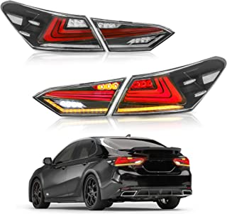 MOSTPLUS Transparent LED Tail Lights for 2018 2019 Toyota Camry Rear Lamps Assembly w/Sequential Turn Light (Set of 2)
