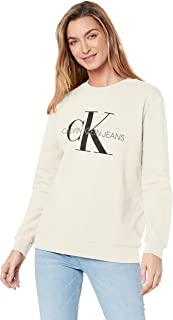 Calvin Klein Jeans Women's Monogram Logo Sweatshirt, Egret, S