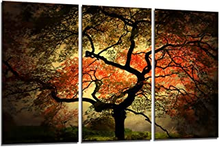 Yin Art 3-Panel Split Canvas Print Wall Art Set - Large Japanese Maple Tree Landscape in Autumn Triptych - 12x24 Inch