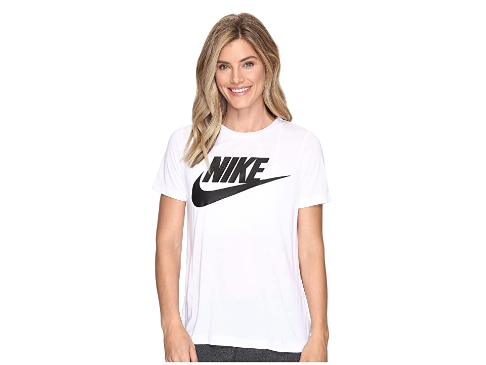 Nike Sportswear Essential Short Sleeve Top (White/White/Black) Women