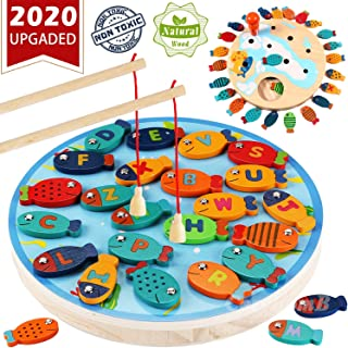 Magnetic Wooden Fishing Game Toy for Toddlers - Alphabet Fish Catching Counting Preschool Board Games Toys for 2 3 4 Year Old Girl Boy Kids Birthday Learning Education Math with Magnet Poles