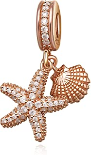 ABUN Sea Starfish Charms 925 Sterling Silver Dangle Spacer Charms with CZ Stone for Bracelets