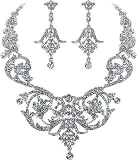 EVER FAITH Bridal Silver-Tone Art Deco Flower Leaf Necklace Earrings Set Clear Austrian Crystal
