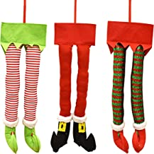 Gift Boutique Christmas Santa and Elf Legs Plush Stuffed Feet with Shoes, Stuck in Christmas Tree Decor Green and White Colors Set of 3 Decorative Ornament Decorations 23 inches long