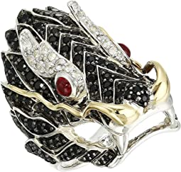 Legends Naga Lava Dragon Ring with Ruby On The Eyes, Black Sapphire and White Sapphire