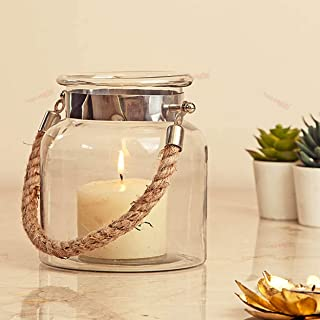 TIED RIBBONS Glass Lantern with Jute Rope Handle for Wall Shelf Hanging Lantern Living Room Decor Bedroom Café Resturant W...