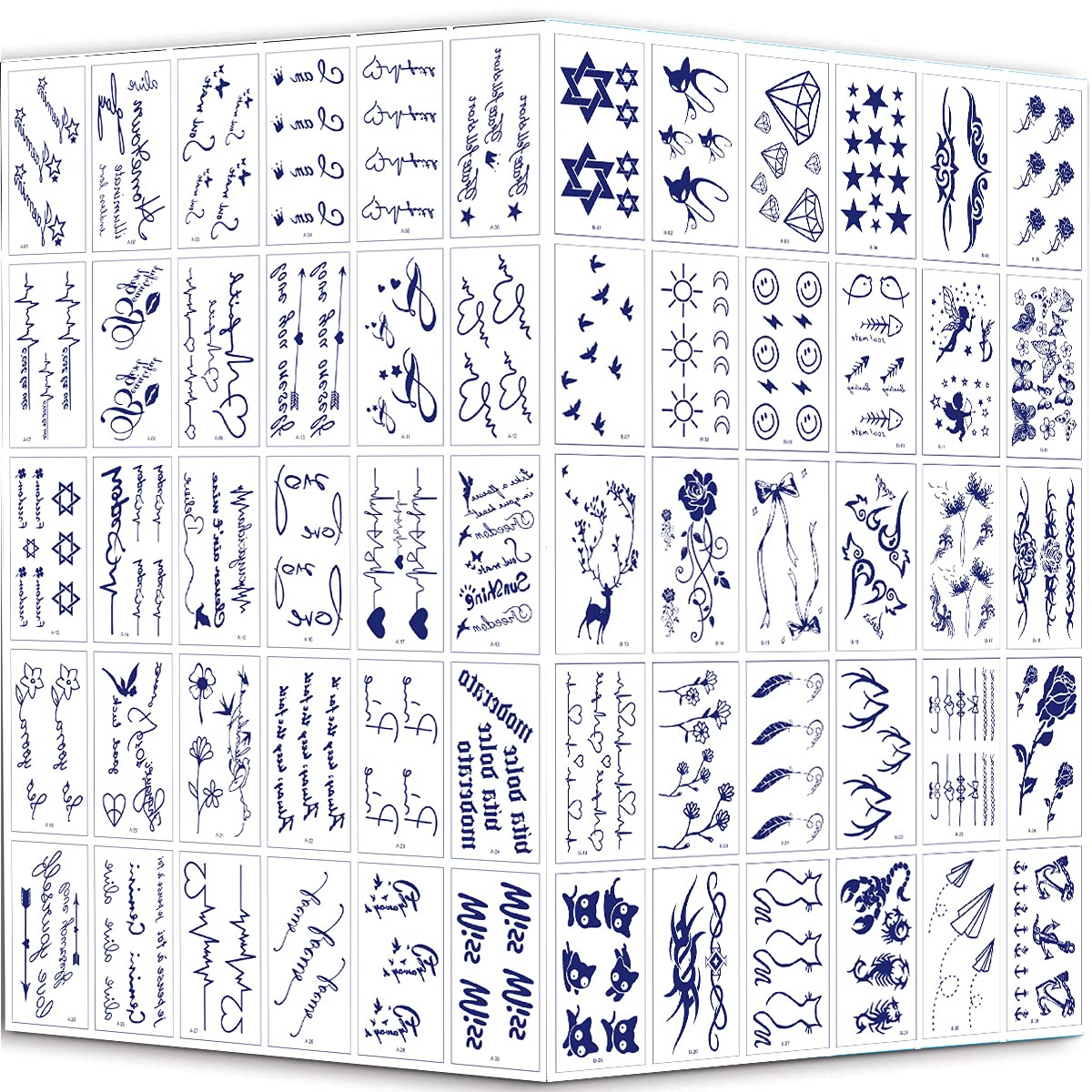 Free Shipping New Semi Permanent Tattoos Stickers shopping - Upgrade H Waterproof 60 Sheets