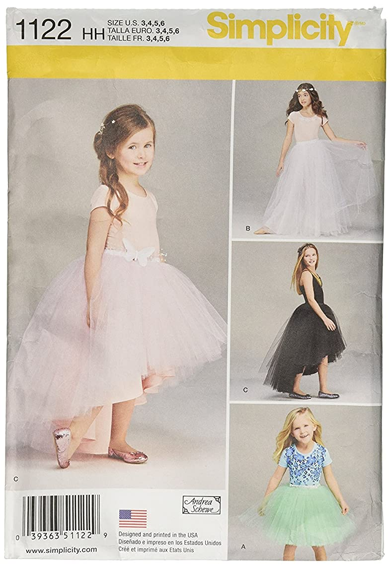 Simplicity 1122 Girl's Tutu Lace Skirt Sewing Pattern, Sizes 3-6