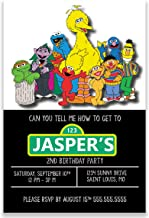 Sesame Street Inspired Birthday Party Invitation, 4 inches by 6 inches, 20 Invitations, Envelopes Included, Printed Party Supplies Invitation Cards