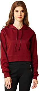 Miss Chase Women's Full Sleeves Hooded Round Neck Boxy Fit Cotton Top