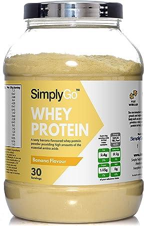 Proteína de Suero de Leche Sabor Plátano - ¡30 Raciones! - Apto para vegetarianos - 900gr - SimplySupplements