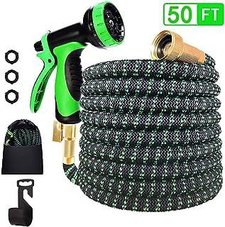 Garden Hose Expandable-10 Function Spray Nozzle,3/4 Solid Brass Connectors,3750D Fabric- 4 Layers Latex Flexible Hose, Dur...