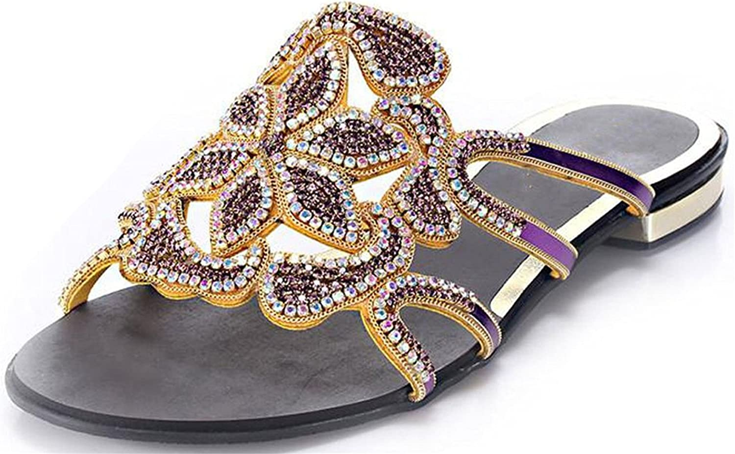 Garyline Cutouts Flat Sandal Floral Crystal Studded Leather Slip On Strappy Sandal Grape