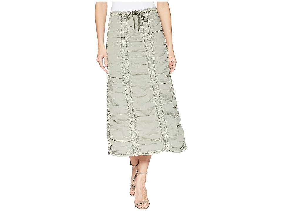 XCVI Stretch Poplin Double Shirred Panel Skirt (Deep Sage) Women