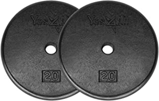 Yes4All Standard 1-inch Cast Iron Weight Plates 5, 7.5, 10, 15, 20, 25 lbs (Single & Pair)