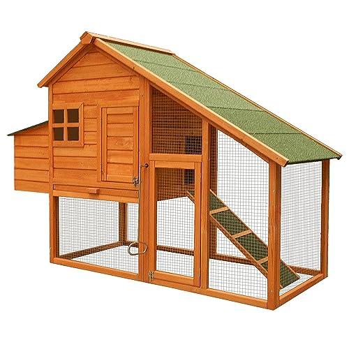 Gallinero recinto descubierto nidos madera abeto bandeja extraíble higiene 1710x660x1200mm