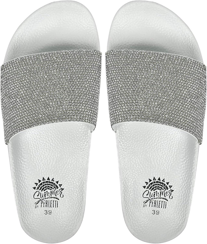 Chaussures Plates Maison pour Fille PERLETTI Sandales Paillettes Femme /à la Mode Claquettes Mules /Ét/é Plage Piscine avec Strass Slippers Pantoufles Color/ées Confortables