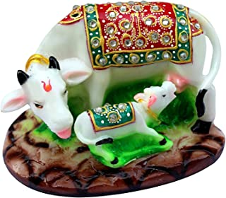Fashion Bizz Handcrafted Stones Studded Marble Made Kamdhenu Cow with Calf