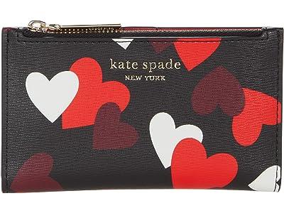 Kate Spade New York Spencer Celebration Hearts Small Slim Bifold Wallet (Black Multi) Handbags