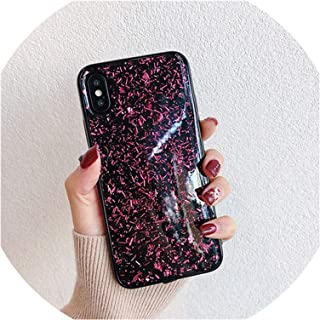 Shining Glitter Sequins Phone Cases for iPhone 6 6S 7 8 Plus X Xs Xr Xs Max Bling Gold Foil Back Cover Fundas,Rose Red,for iPhone Xr