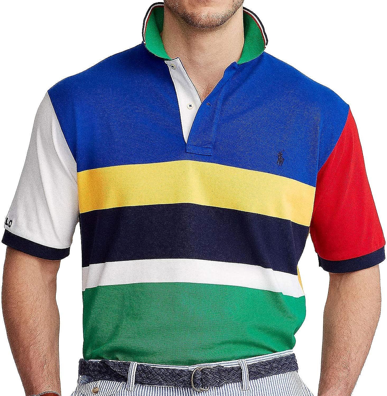 Polo Ralph Lauren Mens Blue Multi Color Block Classic-Fit Polo Shirt