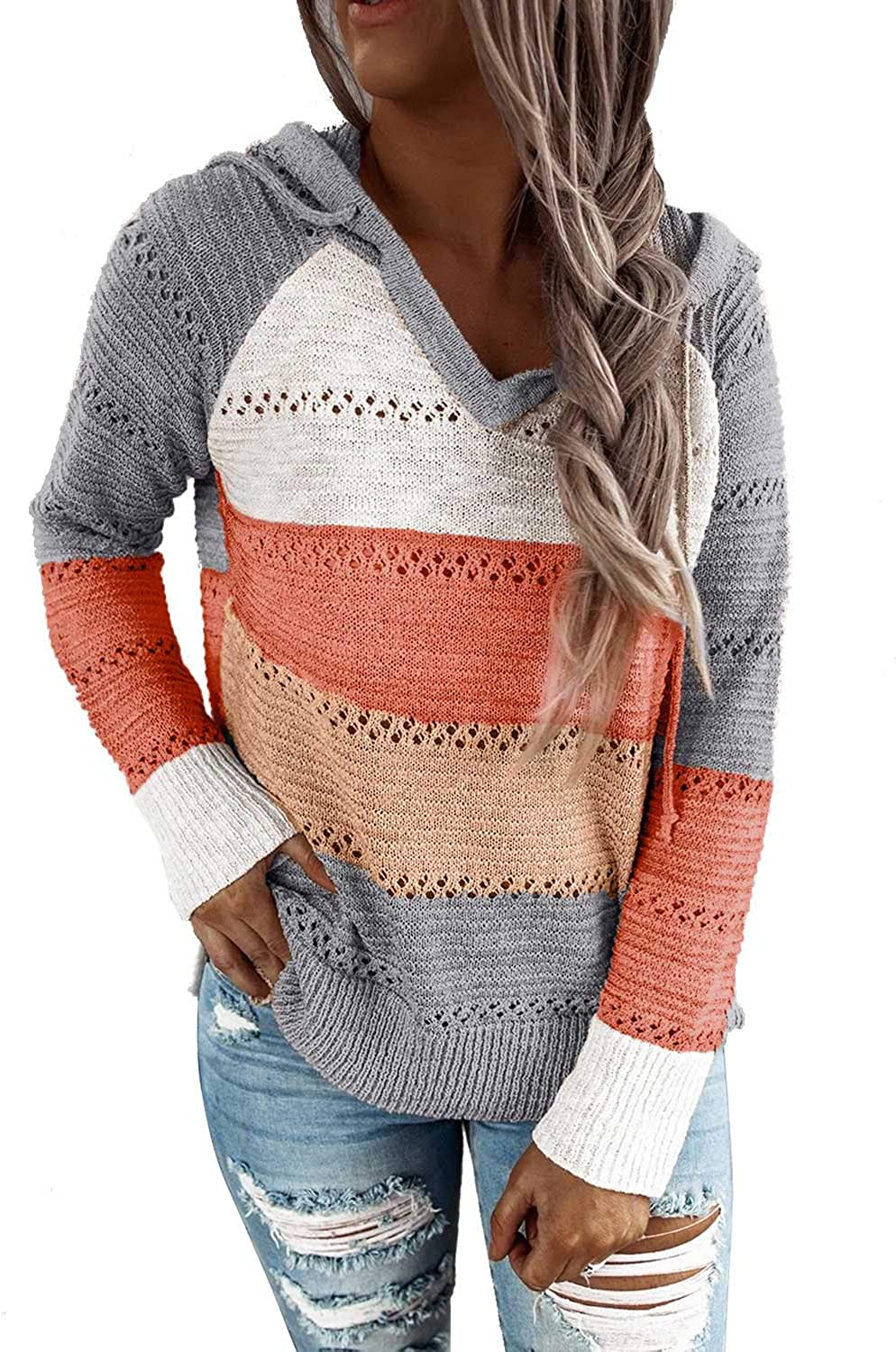 FEKOAFE Womens Striped Color Block Hoodies Fashion V Neck Knit Sweater Pullovers