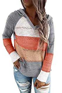 Womens Striped Color Block Hoodies Fashion V Neck Knit Sweater Pullovers