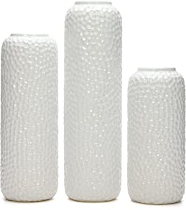 "Hosley Set of 3 White Ceramic Honeycomb Vase- Tall 12"", Medium 10"", Short 8"" High Each. Ideal Gift for Wedding, Special Occasion, Dried Floral Arrangements, Home, Office, Spa O4"