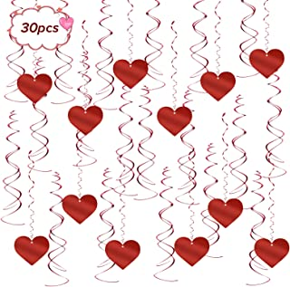 Matogle Decoración Colgante Espiral para San Vatentín 30pcs Espirales de Corazones Rojos para Adornar Techo Remolinos Colgantes Corazón Serpentina Decoración de Aniversario Cumpleaños Habitación