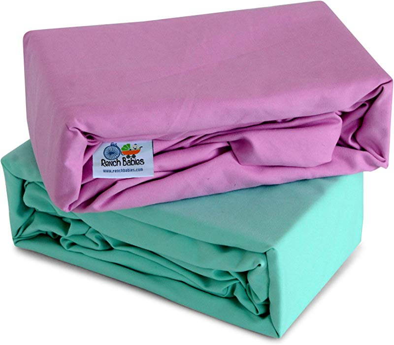 Rench Babies Microfiber Fitted Crib Sheet Ice Green Pastel Lavender 2 Pack