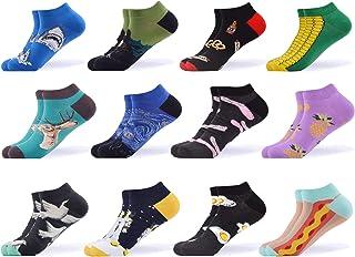 WeciBor, Calcetines de tobillo de algodón casual de colores con fantasía, divertidos diseños de colores para mujer