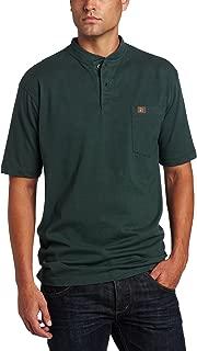 Men's Short Sleeve Henley,Forest Green,X-Large