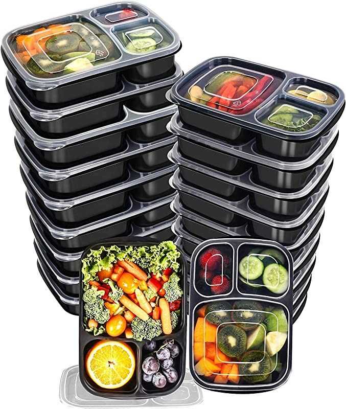 Utopia Kitchen 32 Oz 3 Compartment Meal Prep Container Pack With Lid 20 Pack