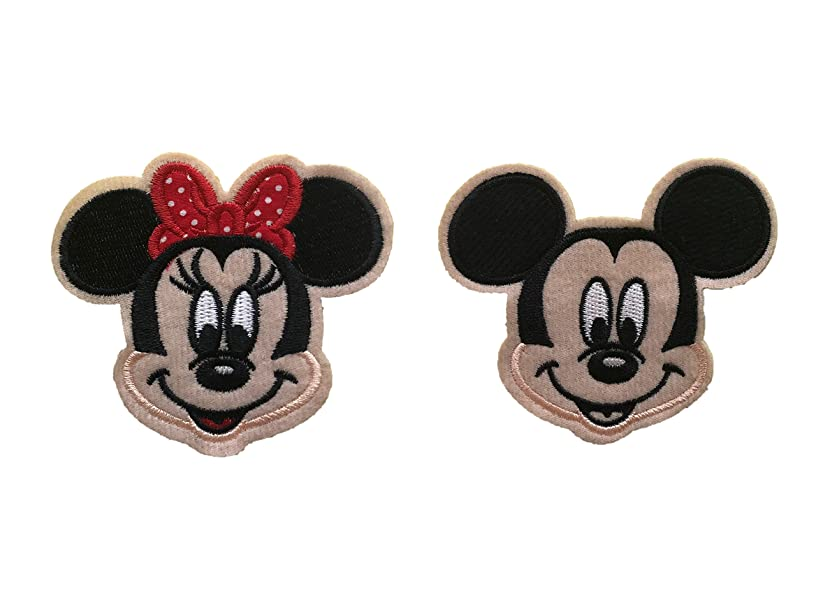 Embroidered Iron/sew on Patch Cloth Applique Collectible Disney Patches (Mickey&Minnie)