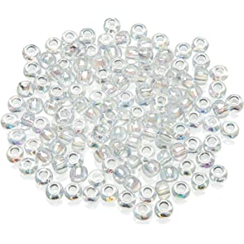 sizes 6,8 and 11 100g Grey Colour Lined Clear Rainbow Glass Seed Beads