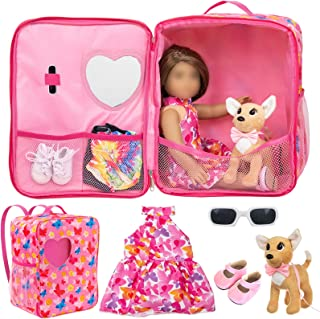 ZITA ELEMENT 5 Items American 18 Inch Girl Doll Carrier Case with Clothes and Accessories - 1 Doll Carrier Bag, 1 Dress, 1...
