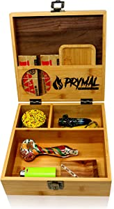 Prymal Products Extra Large Stash Box with Lock and Key and Rolling Tray - Premium Black Walnut and Durable Bamboo Wood - Organize Your Accessories