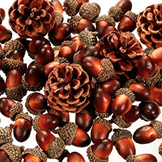 120 Pieces Artificial Acorns and Pine Cones, Lifelike Simulation Small Acorn with Acorn Cap Hanging Ornaments Acorn Decorations for Crafting, Wedding, Autumn, Thanksgiving, Christmas Decor