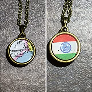 Calcutta KOLKATA WEST Bengal India Asia Map Pendant Two Sides Necklace Atlas GH-624