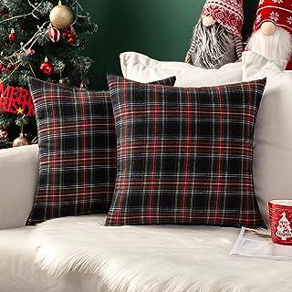 MIULEE Set of 2 Scottish Tartan Plaid Throw Pillow Covers Farmhouse Classic Decorative Cushion Cases for Christmas Home De...