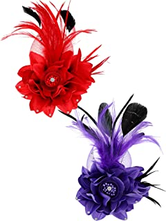 2 Pieces Fake Feather Flower Hair Clip Pin Brooch Corsage for Women Girls Cocktail Party Supplies