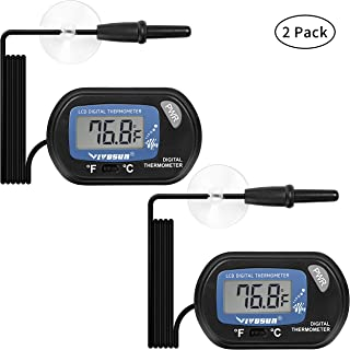 VIVOSUN 2-Pack LCD Digital Aquarium Thermometer Fish Tank Water Terrarium Temperature with Suction Cup for Turtle